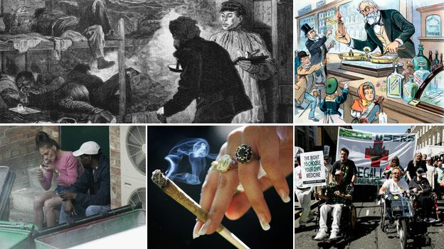 Clockwise from left: opium den (Getty Images); cartoon of pharmacist selling opium (SPL); 2005 medicinal cannabis protest (Getty); a joint (Getty); drug users sheltering behind bins (Getty)