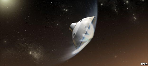 Artist's impression of the entry into the atmosphere of Mars