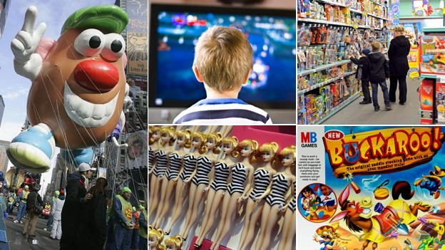 (From top, clockwise) Child watching TV, Potato Head balloon, children in toy shop, Buckaroo board game, Barbie dolls.