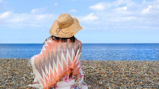 Woman sitting on a beach