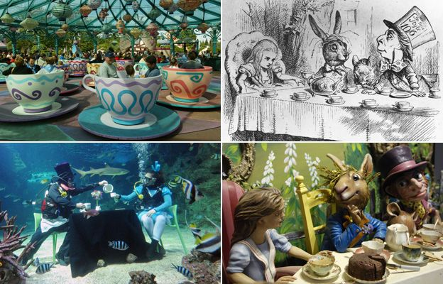 From left, clockwise: fairground ride featuring Mad Hatter's tea cups, original illustration of the March hare's tea party, Fortnum and Mason department store window display of the March hare's tea party, underwater scene featuring divers recreating the March hare's tea party