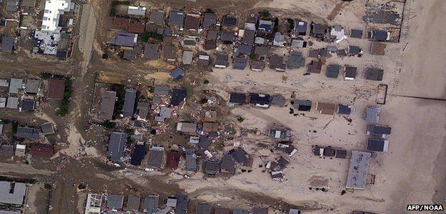 Satellite image of damaged properties (Image: AFP/NOAA)