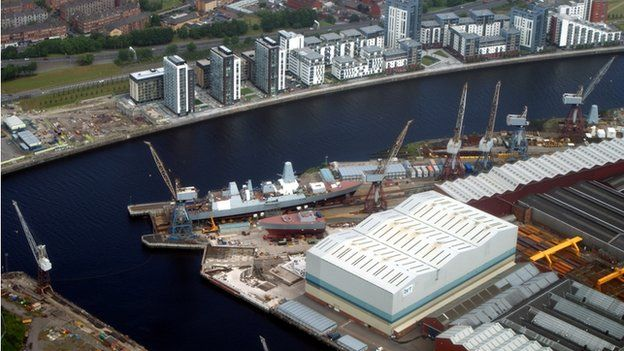 Type 45 destroyer modules under construction at BVT Surface Fleet shipyard in Govan, on the Clyde
