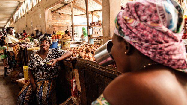 Traders at Bangui central market