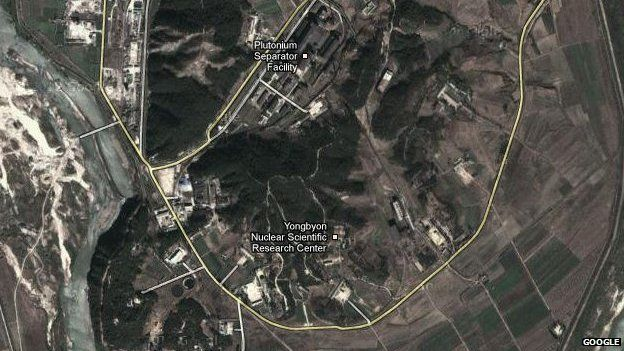 Google satellite map of North Korean showing a nuclear test facility