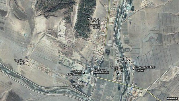 Google satellite map of North Korean work camp close to the border with China