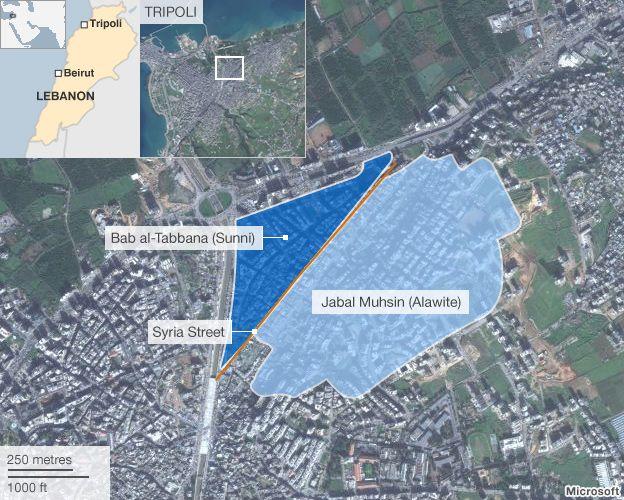 Map showing locations of Bab al-Tabbana and Jabal Muhsin in Tripoli