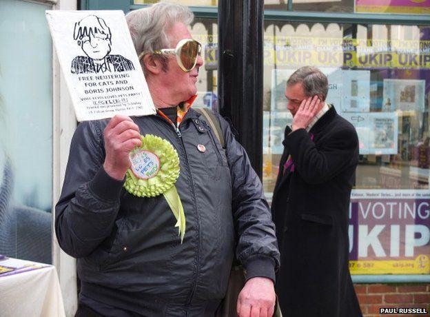 David Bishop, Elvis Loves Pets party (left); Nigel Farage, UKIP leader (right)