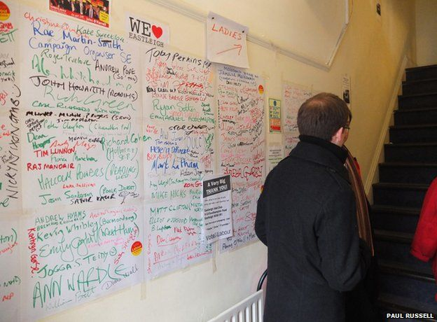 Labour Party campaign centre: wall of helpers' names