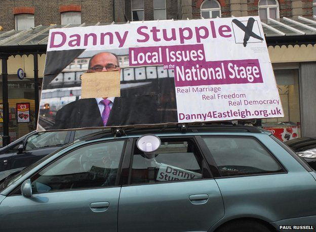 Danny Stupple campaigning on polling day