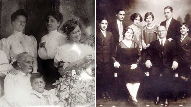 A composite image showing a photo of the Carvajal family in Costa Rica (left), and in the 1930s (right)