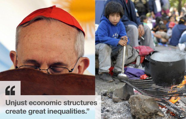 Cardinal Bergoglio at a Mass in 2009 and protesters at a march