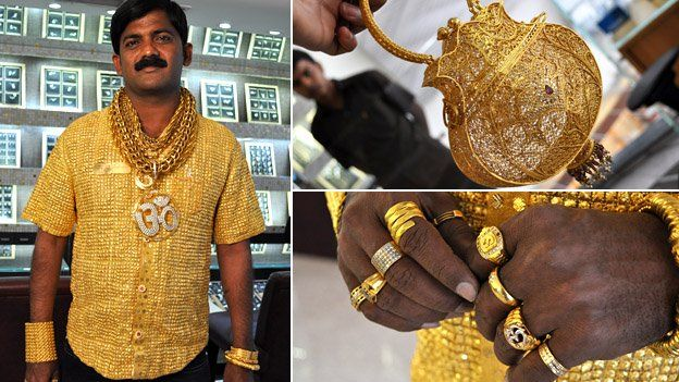 Composite image showing Datta Phuge wearing his gold shirt, a gold handbag and a close-up photograph of Phuge's hands, bearing several rings