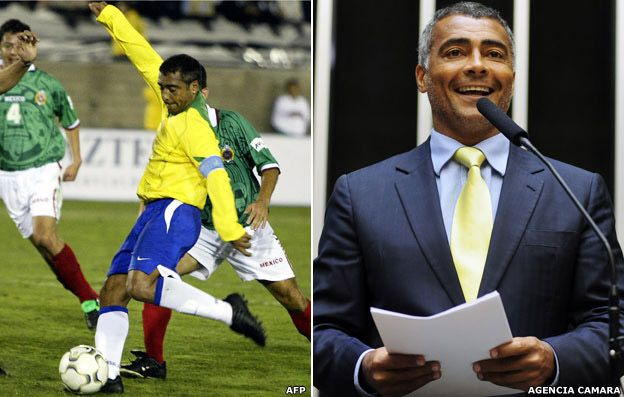 Romario shoots to score his second goal against Mexico in a match between Mexico and Brazil, 10 November 2004 (left) and Romario in the Brazilian Congress, 2013
