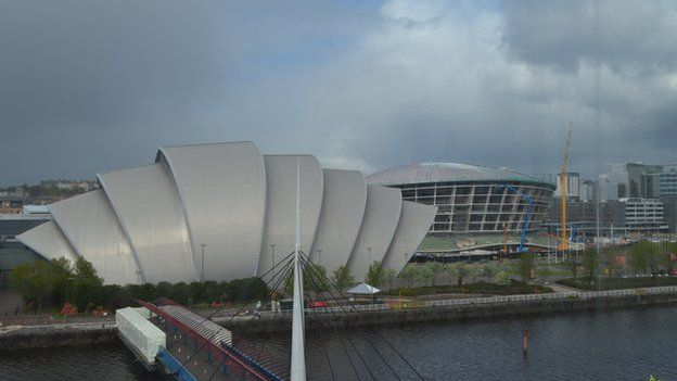 The tower is across the river from the Armadillo and the Hydro arena which is currently under construction
