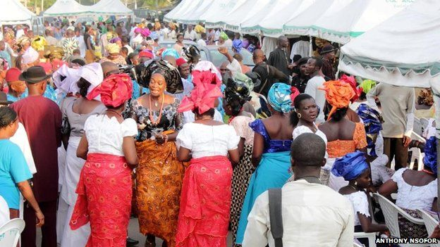 Villagers and invited guests at an Igbo funeral in Nigeria