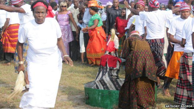 A masquerade at an Igbo funeral in Nigeria