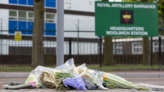 Flowers outside the Royal Artillery Barracks at Woolwich