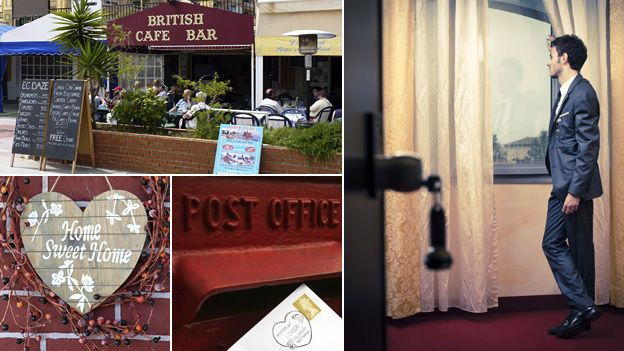 """Composite image featuring, clockwise from top left: A British cafe-bar in Spain, a man looking wistfully through a hotel window, a letter being posted and a sign reading """"Home Sweet Home"""""""