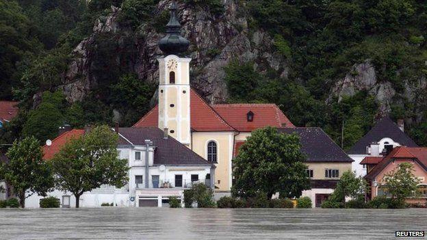 Flooded village of Marbach, Austria