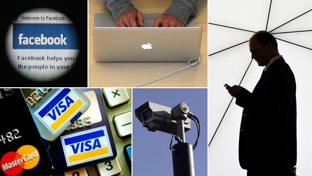 FAcebook symbol, laptop user, man with mobile phone, CCTV, credit cards