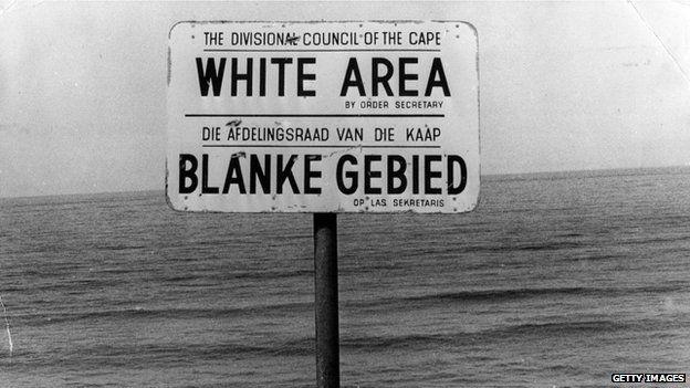 Apartheid white area sign