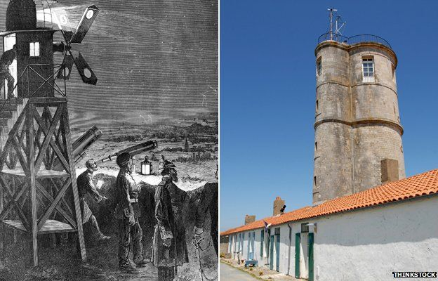 An illustration of an early telegraph experiment in Strasbourg and a semaphore Tower in Ile d'Aix, France