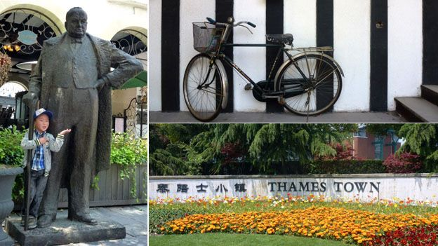 """A composite image showing a statue of Winston Churchill (left), a bicycle (top right), and a sign saying """"Thames Town"""" (bottom right)"""