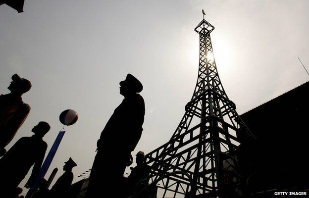 A replica Eiffel Tower in China