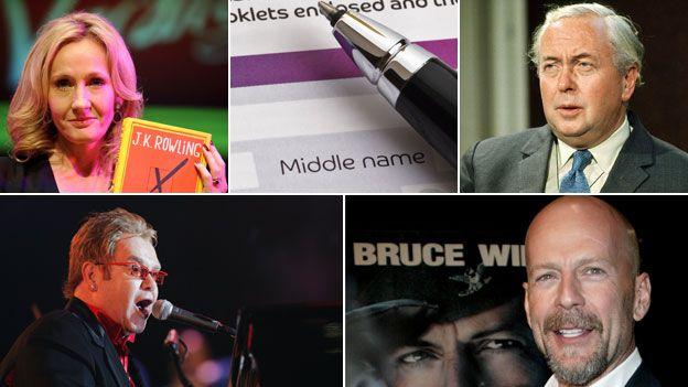 """JK Rowling; form saying """"middle name""""; Harold Wilson; Bruce Willis; Elton John"""