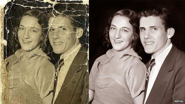 Photo of couple, and retouched version