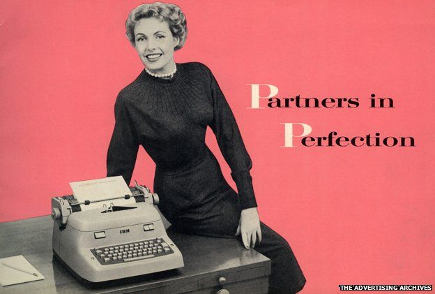 """An advert from the 1940s showing a woman perched on a desk with a typewriter on it, beside the tagline """"Partners in Perfection"""""""