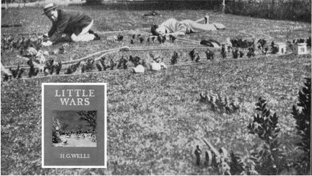 From Little Wars (inset): HG Wells war gaming in the garden of his home at Easton Glebe, Essex