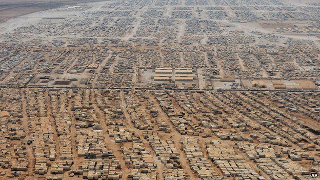 Aerial view of the Zaatari refugee camp
