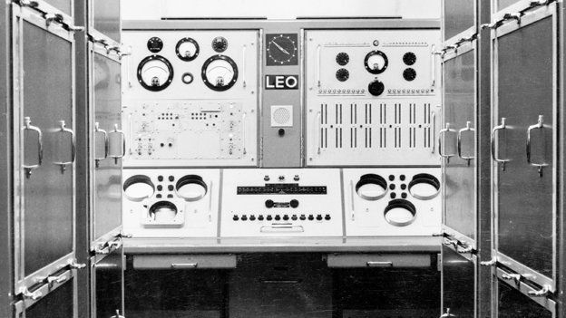 The original LEO computer is a big machine that looks more like an airport control panel, with numerous buttons and dials