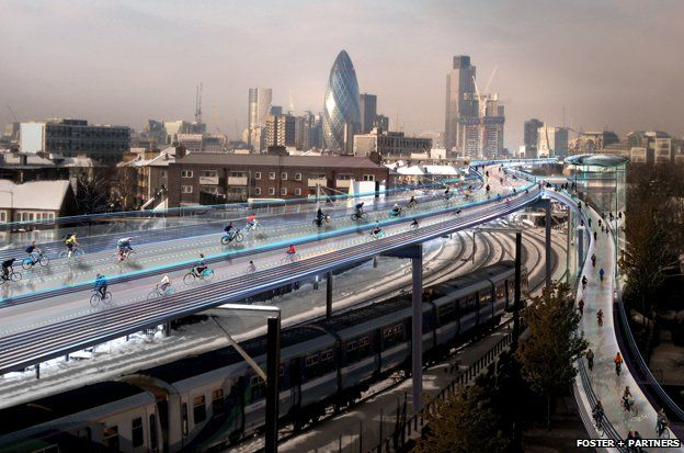 An artistic impression of a cycle path above the London skyline