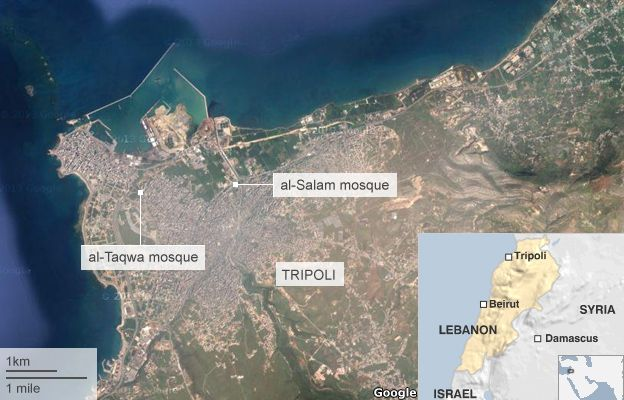 Map shows al-Salaam mosque and al-Taqwa mosques in the northern Lebanese city of Tripoli