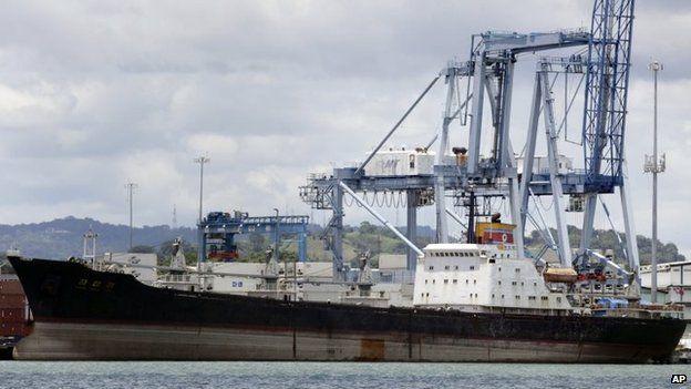 The North Korean-flagged cargo ship Chong Chon Gang sits docked at the Manzanillo International container terminal on the coast of Colon City, Panama, 14 August, 2013.