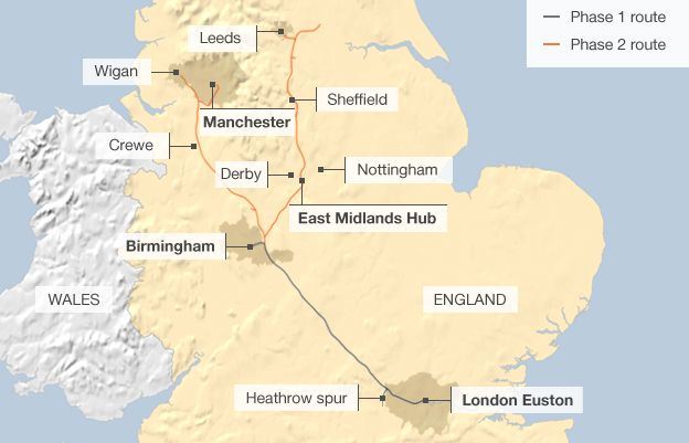 Map showing the route of phase 1 & 2 of the proposed high-speed service