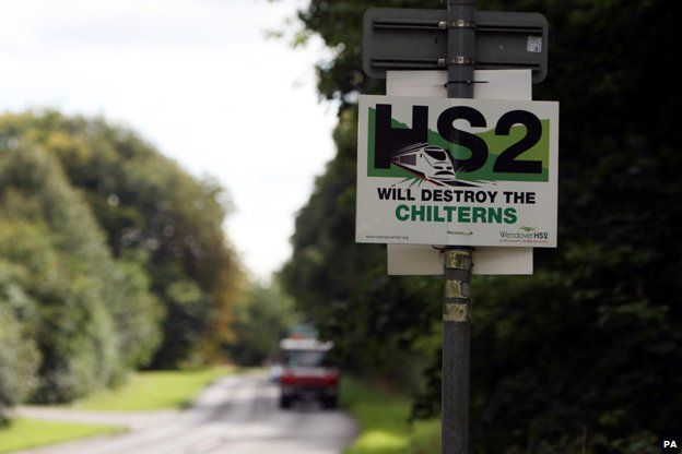 """Sign on side of country road says """"HS2 will destroy the Chilterns"""""""