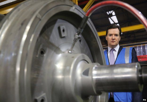 Chancellor George Osborne visits a train wheel factory in Manchester