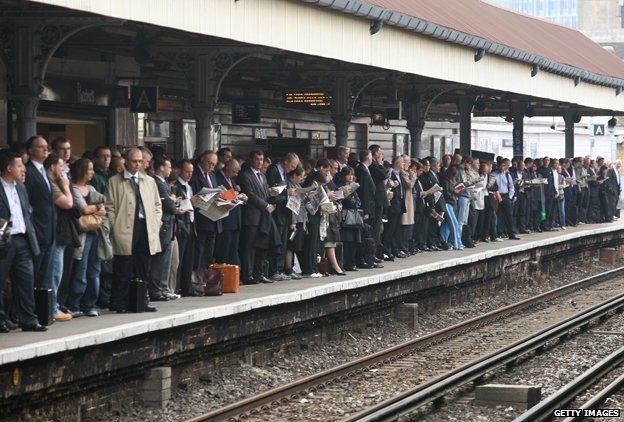 Commuters at Waterloo station
