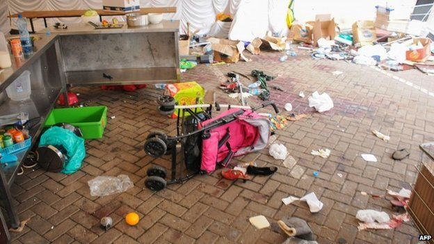 A scene from Westgate shopping centre in Nairobi, showing up upturned pram
