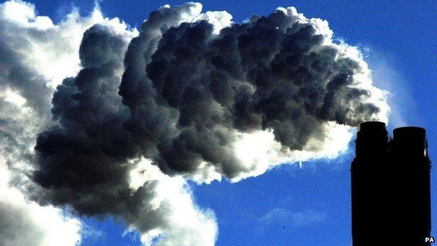 Smoke billowing from a power station