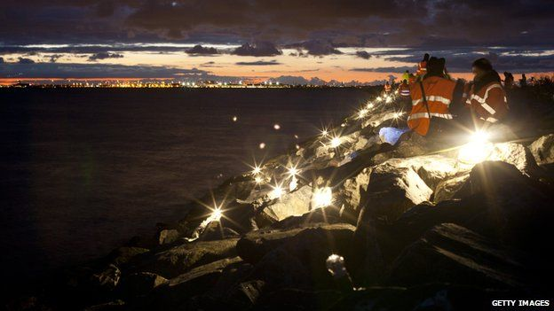 The anniversary of the rescue was commemoration with a light installation connecting Denmark and Sweden