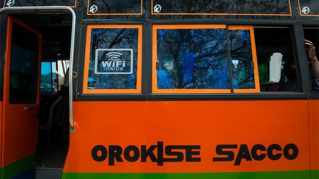 Wi-fi sign on bus