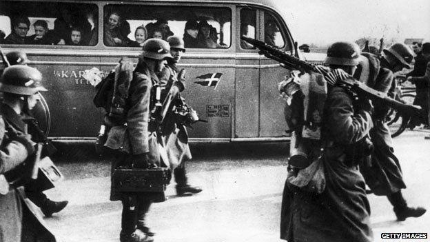 German troops invading Denmark