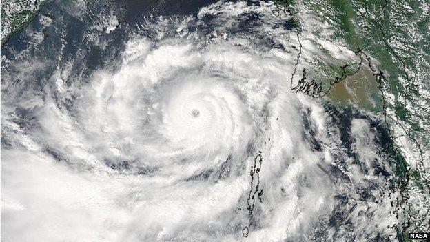 Satellite image of Cyclone Phailin