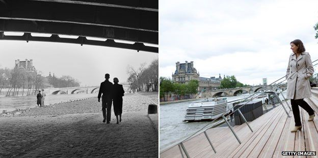 The Seine river bank in 1954 and today