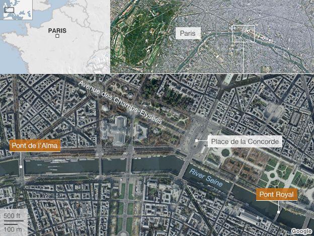 Map of Paris showing Pont de l'Alma and Pont Royal